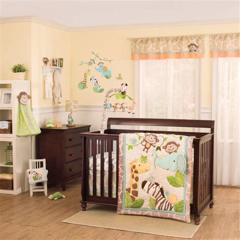 baby room theme baby nursery baby room decoration with brown wooden bed frame and safari bedding also