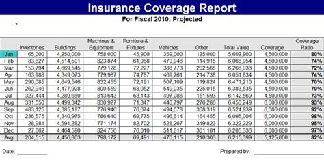 insurance spreadsheet template insurance coverage report template free formats excel word