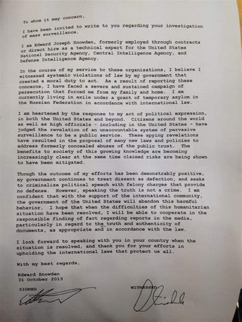 Inquiry Letter In German Snowden Sends Letter To Germany In Support Of New Nsa Hearings Yacs