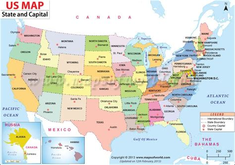 us map shows the 50 states boundary their capital cities