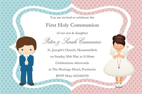 personalised first communion invitations girl boy twins