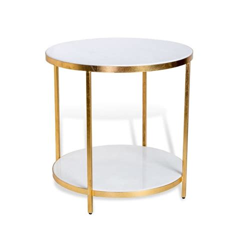 Ujt 4853 Uno Gold Joint Table carson side table marble surface and gold leaf finish