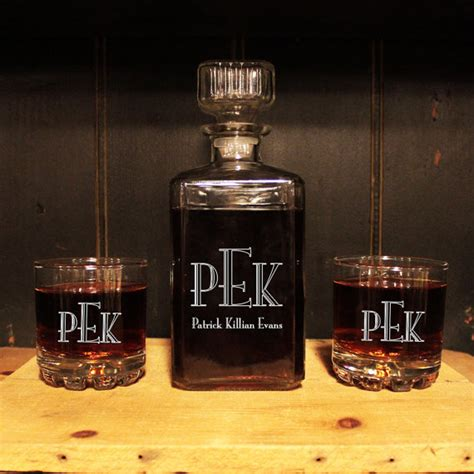 Monogrammed Glass Whiskey Decanter 3pc Set Barware