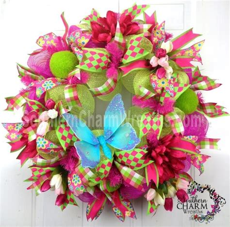 spring butterfly wreath artificialchristmaswreaths com 21 best images about christmas lime green hot pink on