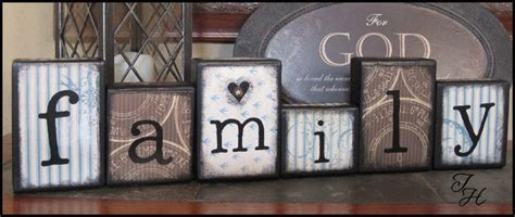 home decor wood word family distressed blocks by