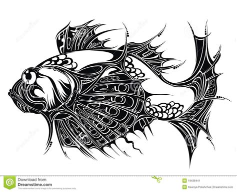 abstract fish background tattoo design stock image