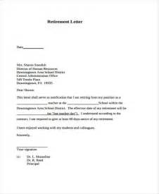 Resignation Letter Due To Retirement by 7 Retirement Resignation Letter Template Free Word Pdf Format Free Premium