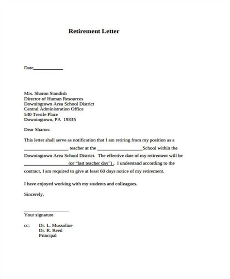 template for retirement letter 9 retirement resignation letter template free word pdf