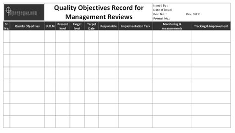 quality objectives template quality objectives record for management reviews format