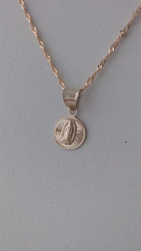 precio de cadena de oro de 10k cadena y dije mini virgen de guadalupe bautizo oro 10k