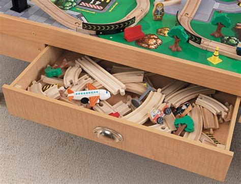brio train table with drawers new kidkraft 100 piece wood toy train set table airport