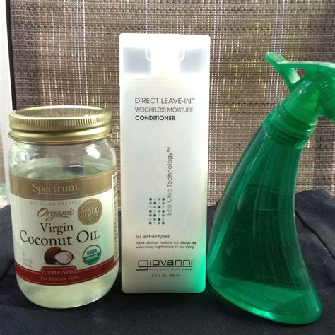 diy setting spray coconut diy curls refresher mix conditioner and water in equal parts and add a spoon of coconut for