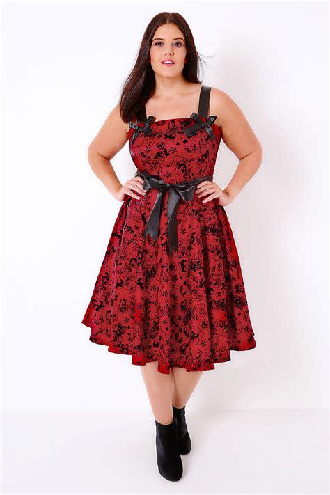 Dress Bunny hell bunny black flocked print 50 s style dress