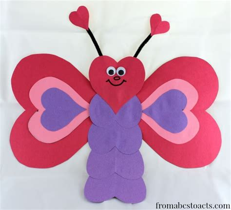 heart pattern for preschool valentine crafts for kids heart shaped butterfly from
