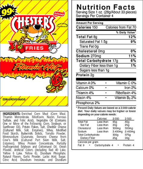 hot chips ingredients chester s fries flamin hot corn potato snacks 5 3 4 oz