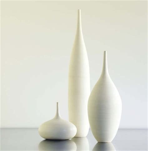 White Large Vase by 3 Large White Modern Ceramic Bottle Vases In Modern By
