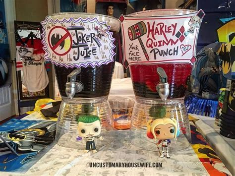 harley quinn themed birthday party batman birthday party drinks superhero birthday party