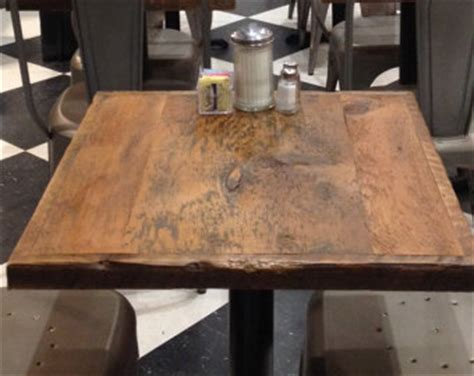 Pub Table With Bench Reclaimed Wood Table Tops For Restaurants By Freshrestorations