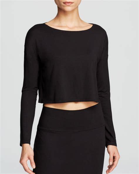 Lyst Eileen Fisher Long Sleeve Crop Top In Black Black Sleeve