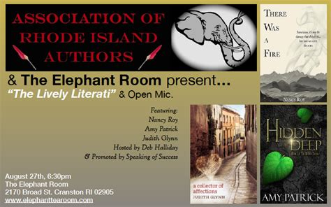 elephant room ri august readings to feature association of rhode island authors