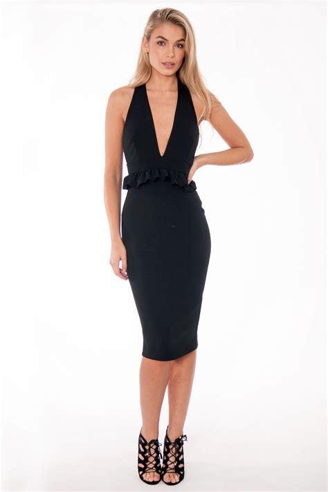 Dress Enjoy Dress black halter neck ruffle dress dresses modamore