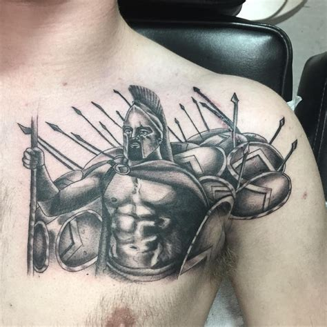 black and grey tattoo on chest 21 spartan tattoo designs ideas design trends