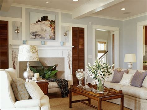light blue wall paint cottage living room benjamin oystershell coastal living