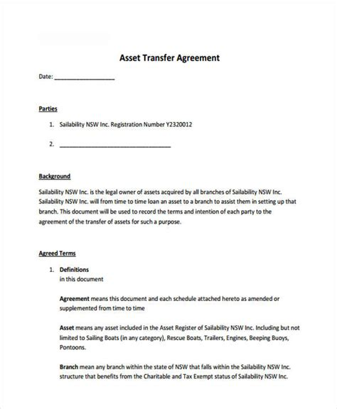9 Transfer Agreement Templates Free Sle Exle Format Download Free Premium Templates Transfer Agreement Template