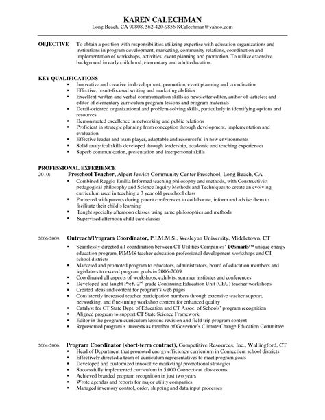Program Consultant Cover Letter by Program Coordinator Resume Resume Cover Letter Exle