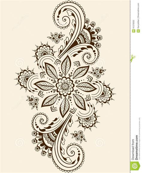 vector illustration of mehndi ornament traditional indian