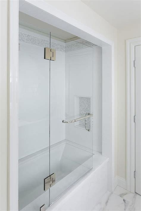 alcove in shower marble tub alcove transitional bathroom