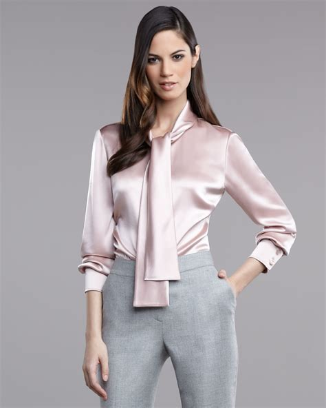 Blouse Satin Lyst St Liquid Satin Blouse In Pink