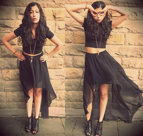 Maxi Anjali anjali punn new look black chiffon dip hem skirt asos