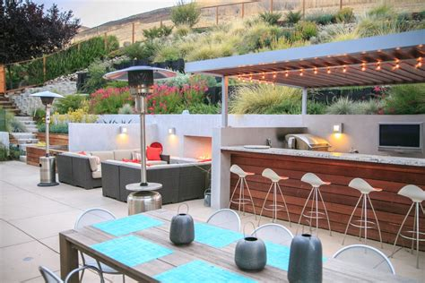 Eclectic Dining Room Tables modern outdoor bbq patio contemporary with stucco walls