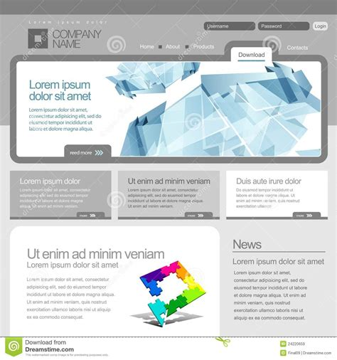 Gray Website Template 960 Grid Royalty Free Stock Images Image 24220659 Grid Website Templates Free