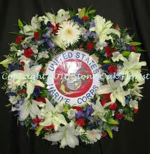 Spray Of Flowers For Funerals - patriotic wreath with marine corps emblem funeral floral