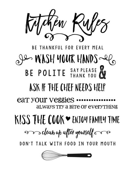 printable kitchen quotes kitchen rules printable lil luna