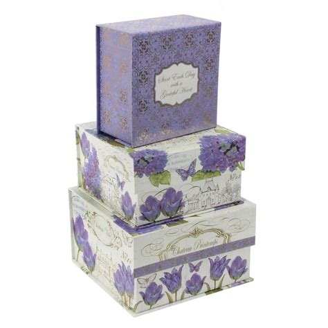 Decorative Storage Box With Lid by Set Of 3 Lilac Floral Storage Boxes Pretty Decorative