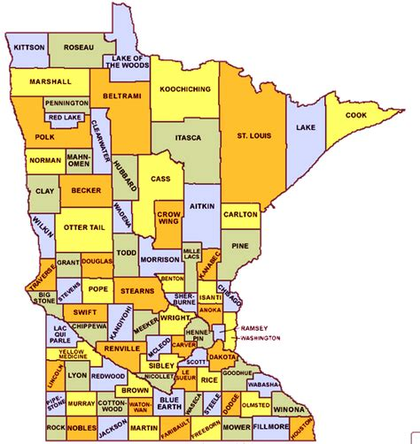 mn county map image gallery minnesota cities