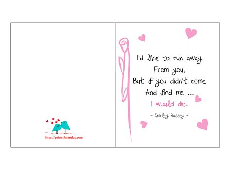 printable love quotes for him 8 best images of cute printable love cards printable