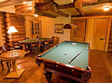 idea turn your basement into a log cabin saloon