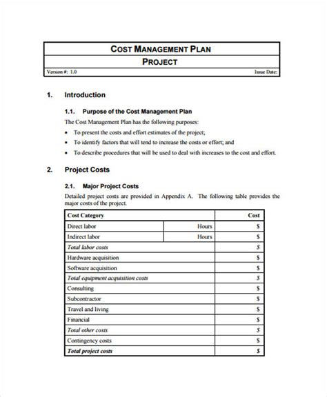 cost plan 45 management plan exles