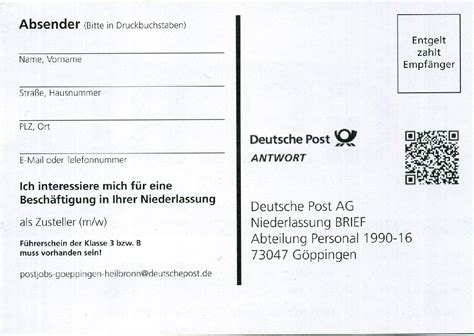 Postwurfsendung An Alle Haushalte 2300 by Philaseiten De Jobangebot Per Postwurfsendung