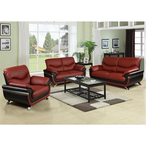 Sofa Sets by Two Tone Brown And Black Leather Three Sofa Set