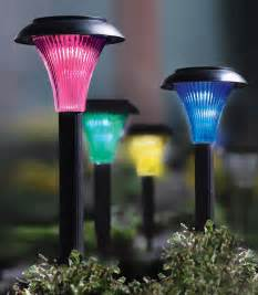 color changing solar path lights set of 4 solar powered color changing garden stake path