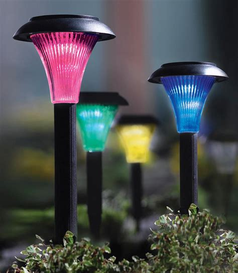 Set Of 4 Solar Powered Color Changing Garden Stake Path Solar Lights That Change Color