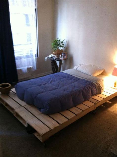 bed frame from pallets diy 20 pallet bed frame ideas 99 pallets