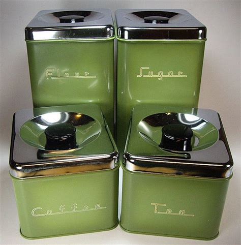 avocado green 70 s metal kitchen canister set by pantry queen 4 piece set new in box retro