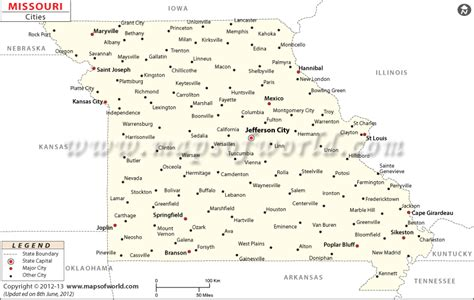 missouri map with cities and towns cities in missouri map of missouri cities