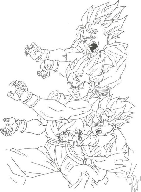 goku kamehameha coloring pages goku and his sons unleashing kamehameha in dragon ball z